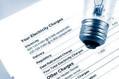 Cuenta de la electricidad Imagen de archivo