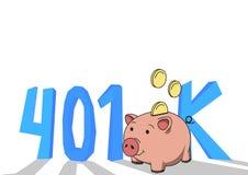 cuenta de la pensión 401K, retiro Concepto con la hucha y las letras Ejemplo plano coloreado del vector en blanco Imagen de archivo libre de regalías