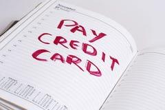 Cuenta de la tarjeta de crédito de la paga Imagen de archivo