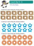 Cuenta de los múltiplos de la matemáticas por 4 - 6 Fotografía de archivo libre de regalías