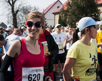 Cuenta de minutos al comienzo del maratón en Polonia Imagen de archivo libre de regalías