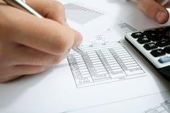 Cuenta de renta en la calculadora Fotografía de archivo libre de regalías