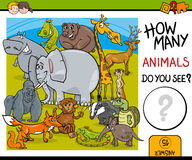 Cuenta de tarea educativa de los animales ilustración del vector