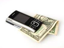 Cuenta de teléfono y un dólar Foto de archivo