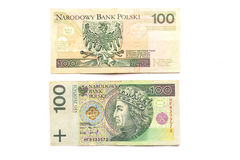 Cuenta de 100 Zloty Fotos de archivo libres de regalías