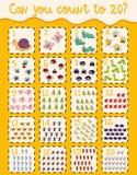 Cuenta 1 a 20 del cartel de las matemáticas stock de ilustración