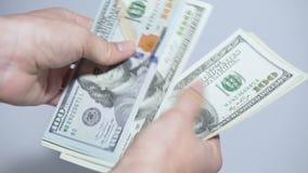 Cuenta del dinero en el fondo blanco metrajes