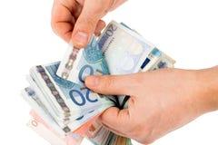 Cuenta del dinero euro Fotografía de archivo libre de regalías