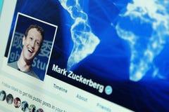 Cuenta del facebook de Mark Zuckerberg imagenes de archivo