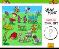 Cuenta del juego educativo de los insectos y de los insectos Foto de archivo