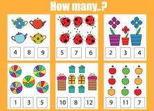 Cuenta del juego educativo de los niños Cuántos objetos encargan Imagen de archivo libre de regalías