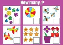 Cuenta del juego educativo de los niños Cuántos objetos encargan Imagen de archivo