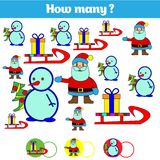Cuenta del juego educativo de los niños, hoja de la actividad de los niños Cuántos objetos encargan Aprendizaje de matemáticas, n stock de ilustración