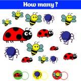 Cuenta del juego educativo de los niños, hoja de la actividad de los niños Cuántos objetos encargan Aprendizaje de matemáticas, n Fotografía de archivo
