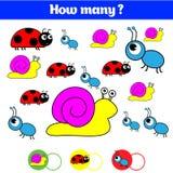 Cuenta del juego educativo de los niños, hoja de la actividad de los niños Cuántos objetos encargan Aprendizaje de matemáticas, n Foto de archivo