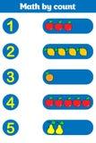 Cuenta del juego para los niños preescolares Educativo un juego matemático Fotografía de archivo libre de regalías