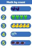 Cuenta del juego para los niños preescolares Educativo un juego matemático Fotografía de archivo