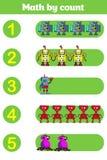 Cuenta del juego para los niños preescolares Educativo un juego matemático Fotos de archivo libres de regalías