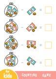Cuenta del juego para los niños preescolares Hojas de trabajo de la substracción Cuánto dinero en carteras stock de ilustración