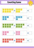 Cuenta del juego para los preescolares Juego matemático educativo en la adición y la substracción Hoja de trabajo activa para los ilustración del vector