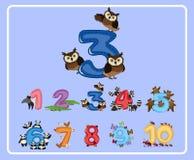 Cuenta del número tres con los búhos stock de ilustración