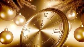 Cuenta descendiente de oro del reloj del Año Nuevo en fondo del oro animaci?n 3D 4K ilustración del vector
