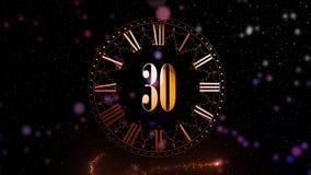 Cuenta descendiente del Año Nuevo 2.a animación que cuenta minutos en un reloj Reloj giratorio Color rojo Animación para su parti ilustración del vector