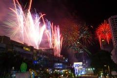 Cuenta descendiente del fuego artificial en Bangkok, Tailandia Imágenes de archivo libres de regalías