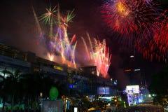 Cuenta descendiente del fuego artificial en Bangkok, Tailandia Foto de archivo libre de regalías