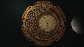 Cuenta descendiente del reloj de Steampunk stock de ilustración