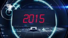 Cuenta descendiente a 2015 en la pantalla de ordenador en estilo de la tecnología stock de ilustración