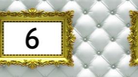 Cuenta descendiente en marcos del oro en fondo blanco de lujo de la tapicería Maqueta para el hit parade, carta animación 3D libre illustration