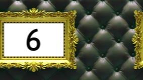 Cuenta descendiente en marcos del oro en fondo negro de lujo de la tapicería Maqueta para el hit parade, carta animación 3D libre illustration