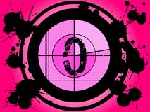 Cuenta descendiente rosada de la película - en 0 foto de archivo libre de regalías