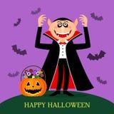 Cuenta divertida Drácula con colmillos y una sonrisa terrible, y cerca de un pote de la calabaza con los dulces y los caramelos stock de ilustración