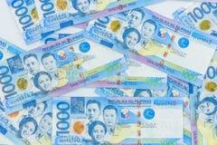 Cuenta filipina de 1000 Pesos, moneda del dinero de Filipinas, fondo filipino de las cuentas de dinero imagenes de archivo