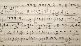 Cuenta vieja de la vieja música con el papel amarilleado, Imágenes de archivo libres de regalías