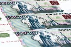 cuentas de 1000 rublos Fotos de archivo libres de regalías