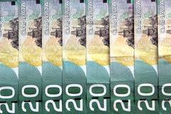 Cuentas de dólar canadiense Fotos de archivo libres de regalías