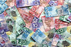 Cuentas de dólar canadiense Imagen de archivo libre de regalías