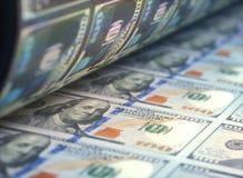 Cuentas de dólar de EE. UU. de la impresión Fotografía de archivo libre de regalías