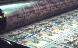 Cuentas de dólar de EE. UU. de la impresión Foto de archivo libre de regalías