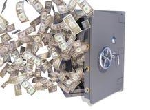 Cuentas de dólar que vuelan hacia fuera la cámara acorazada imagen de archivo libre de regalías