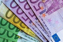 Cuentas de dinero, billetes de banco, euro Foto de archivo libre de regalías