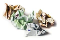 Cuentas de dinero en circulación europeas arrugadas Imágenes de archivo libres de regalías