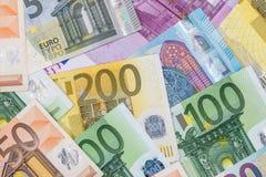 Cuentas de los euros como fondo Imagen de archivo libre de regalías