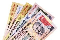 Cuentas de moneda de la rupia india Imágenes de archivo libres de regalías