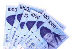 Cuentas de moneda ganadas coreanas Foto de archivo libre de regalías