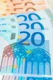 Cuentas de 20 y 50 EUR Fotografía de archivo libre de regalías