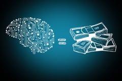 Cuentas del cerebro y de dinero stock de ilustración